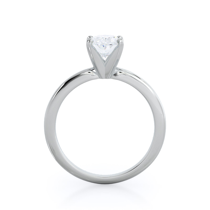 Classic four prong solitaire oval diamond engagement ring; in white gold: profile view