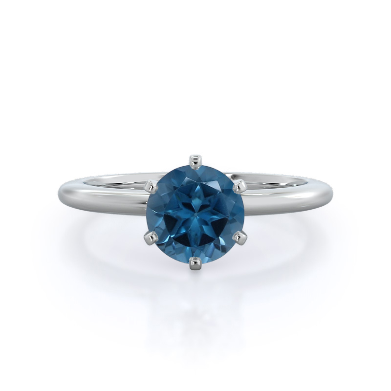 Classic Six Prong Solitaire London Blue Topaz Ring; 14 kt white gold