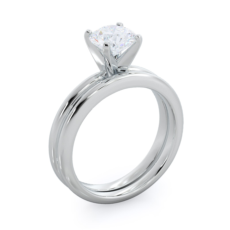 Classic four prong solitaire oval diamond engagement ring; in white gold: perspective view
