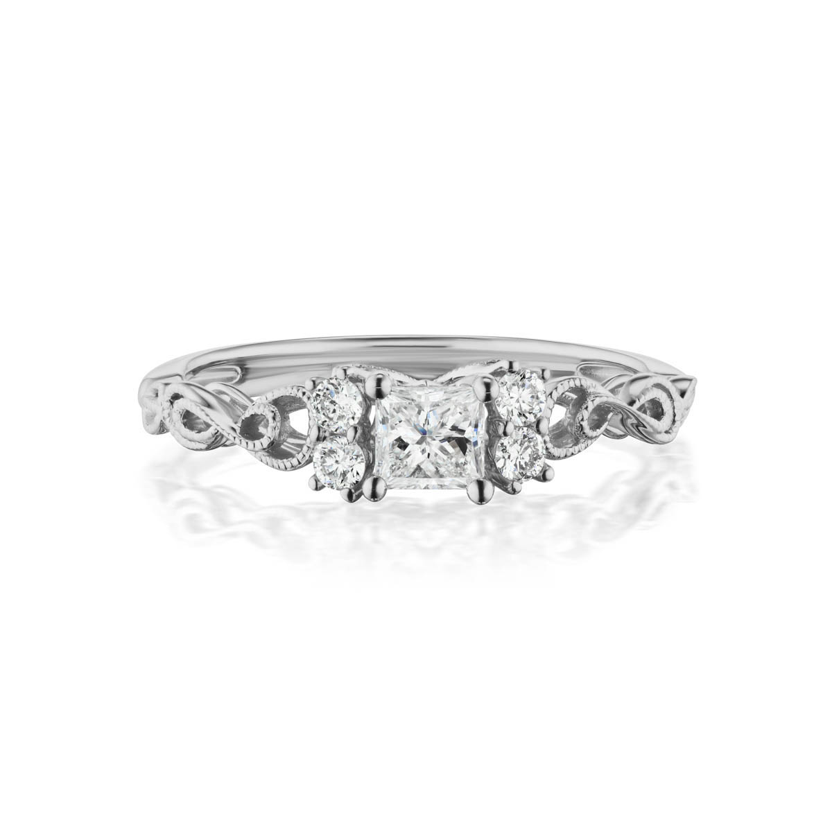 Allure lab diamond ring; 14kt white gold