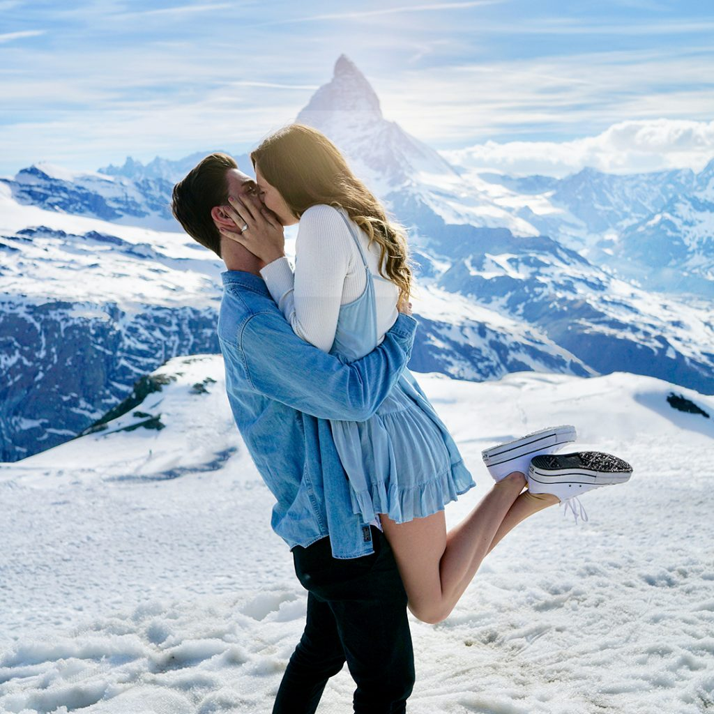 Winter Holiday Proposal: Couple proposal in mountains