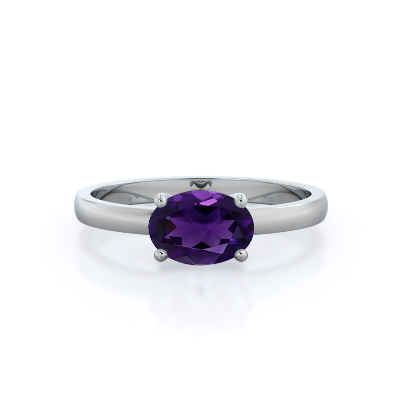 Classic Four Prong East West Amethyst Ring; 14kt white gold