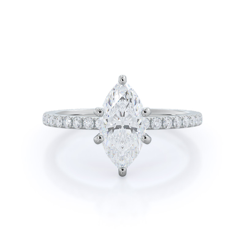 Classic pave marquise diamond ring, 14KT White Gold