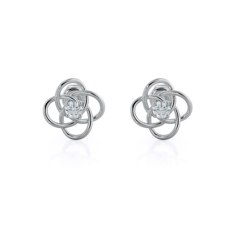 Four Curves Lab Diamond Earrings; 14kt white gold
