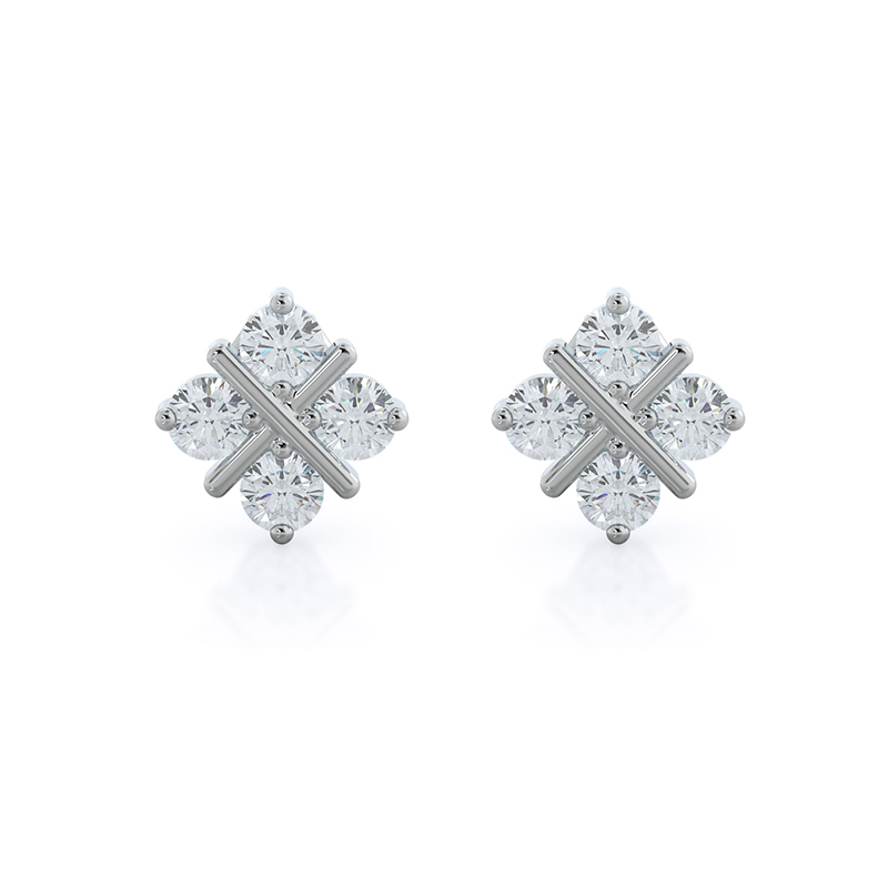 Four Points Lab Diamond Earrings; 14kt white gold