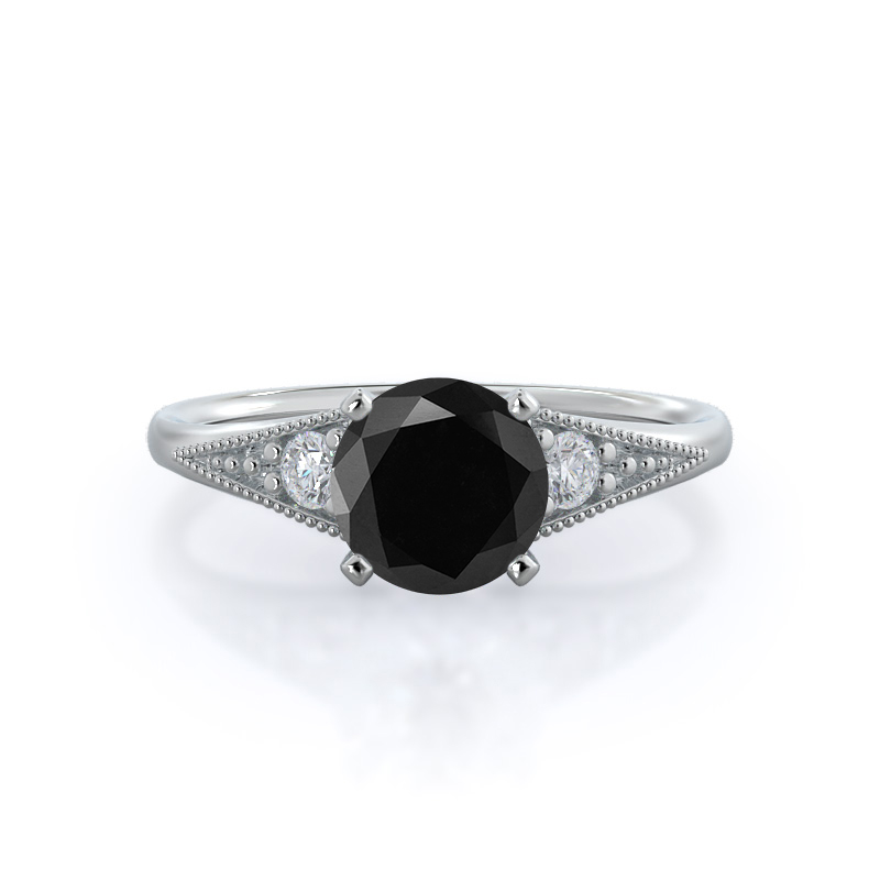 Heirloom Milgrain Black Diamond Ring; 14KT White Gold