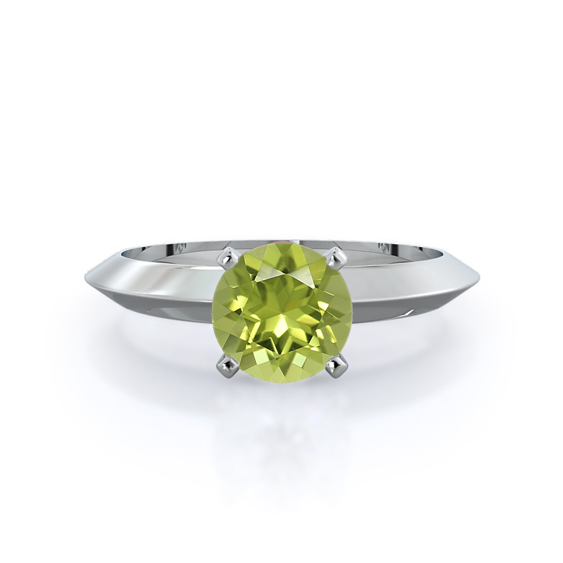 Knife Edge Solitaire Peridot Ring; 14kt white gold