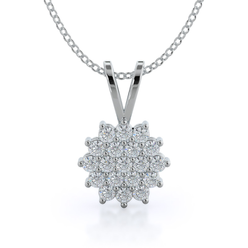 Lab Diamond Circle Cluster Pendant 14 kt white gold