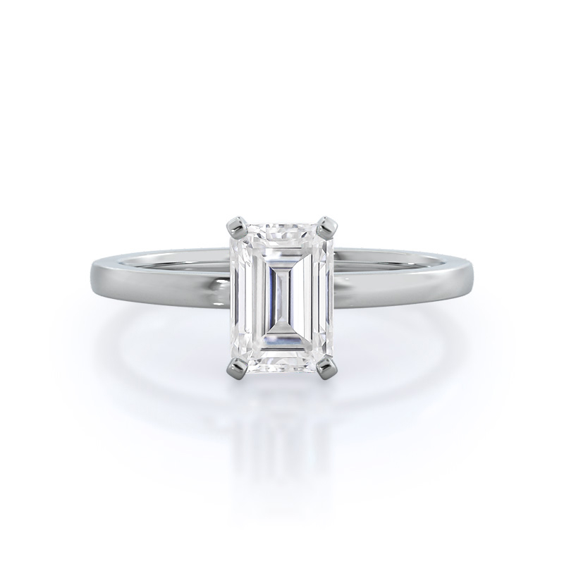 Petite Solitaire Emerald Moissanite Ring; 14 kt white gold