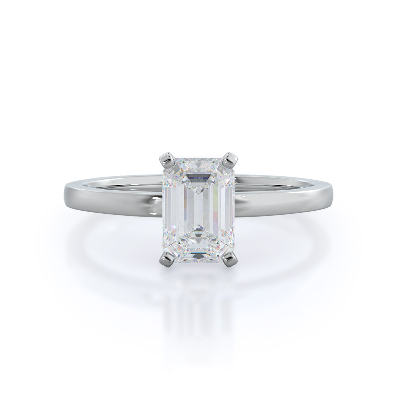 Petite Solitaire emerald diamond engagement ring; in white gold: front view