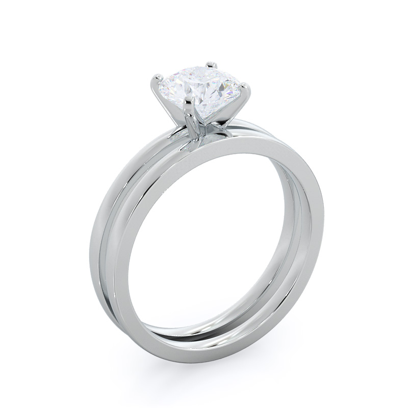 Petite solitaire emerald diamond engagement ring; in white gold: perspective view with matching band