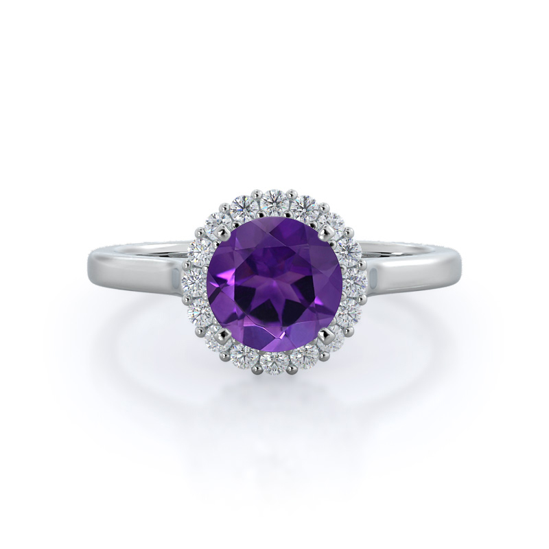 Plain Shank Halo Amethyst Ring; 14KT White Gold