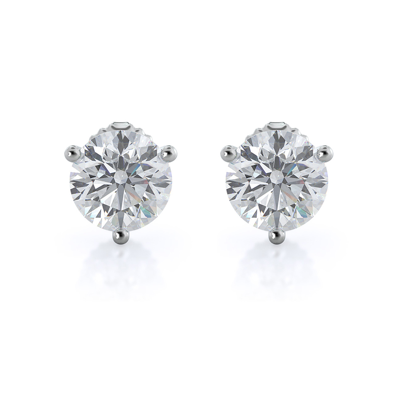 Round Martini Lab Diamond Stud Earrings; 14kt white gold