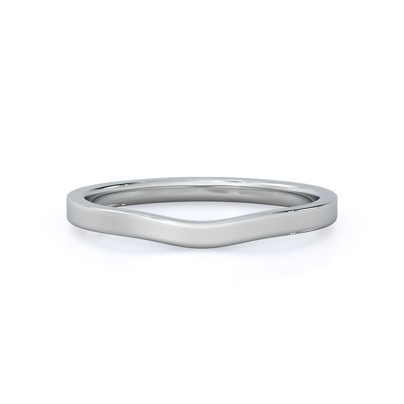 Sleek cathedral solitaire wedding band; 14kt white gold