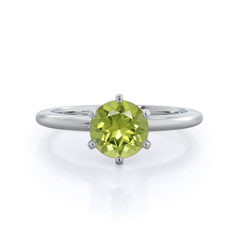 Classic Six Prong Solitaire Peridot Ring; 14kt white gold