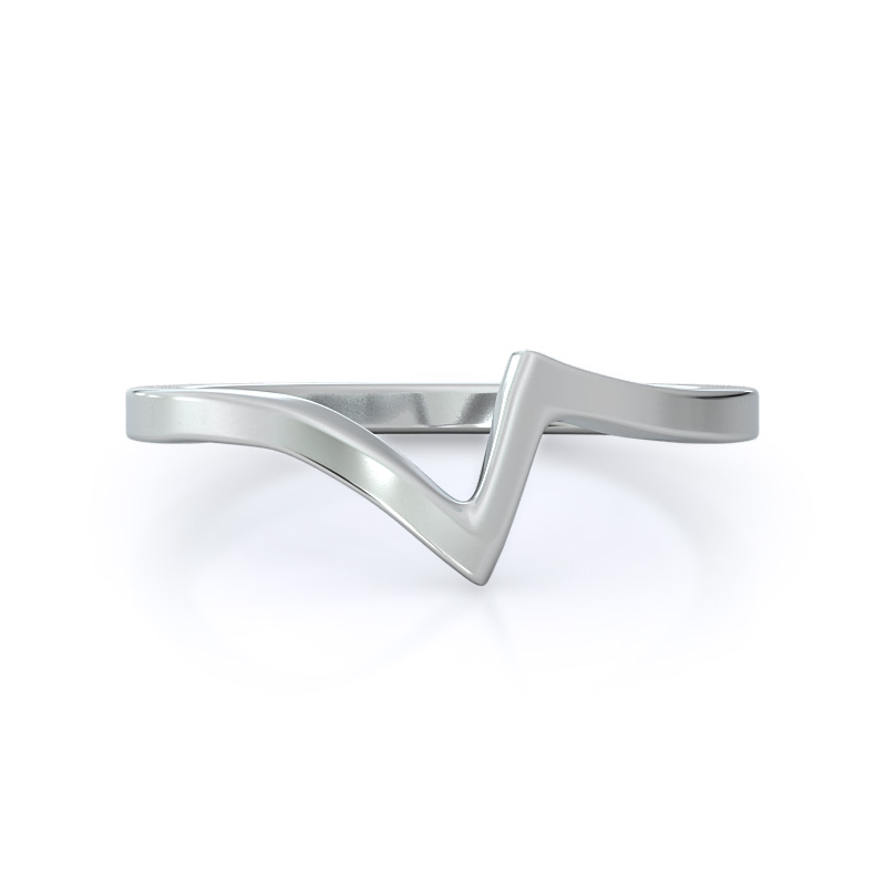 Flourish solitaire wedding band; 14kt white gold