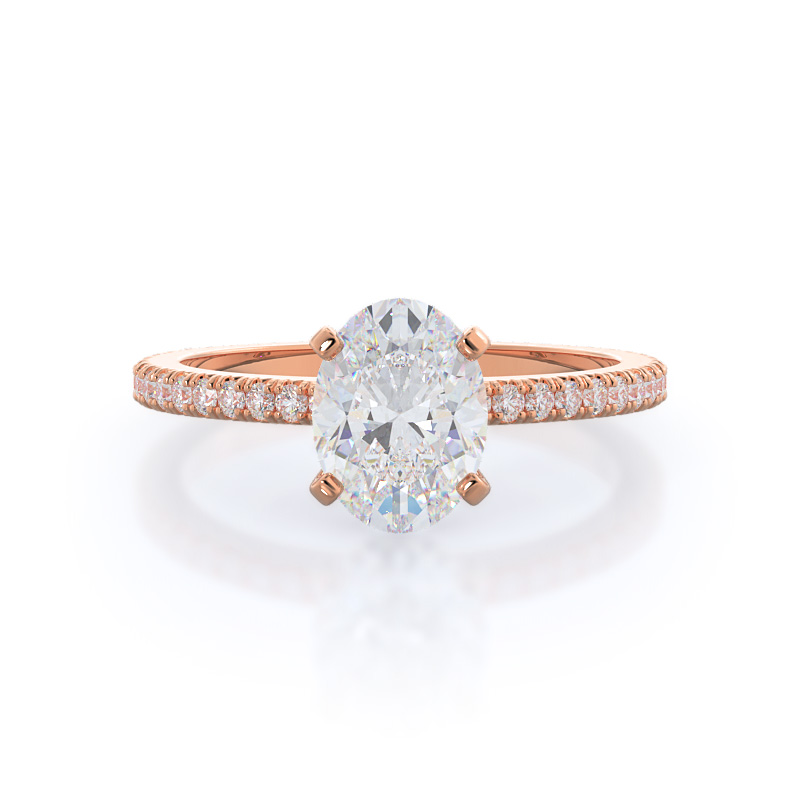 Front view-Petite French Set Diamond Engagement Ring; Oval Diamond; Rose Gold