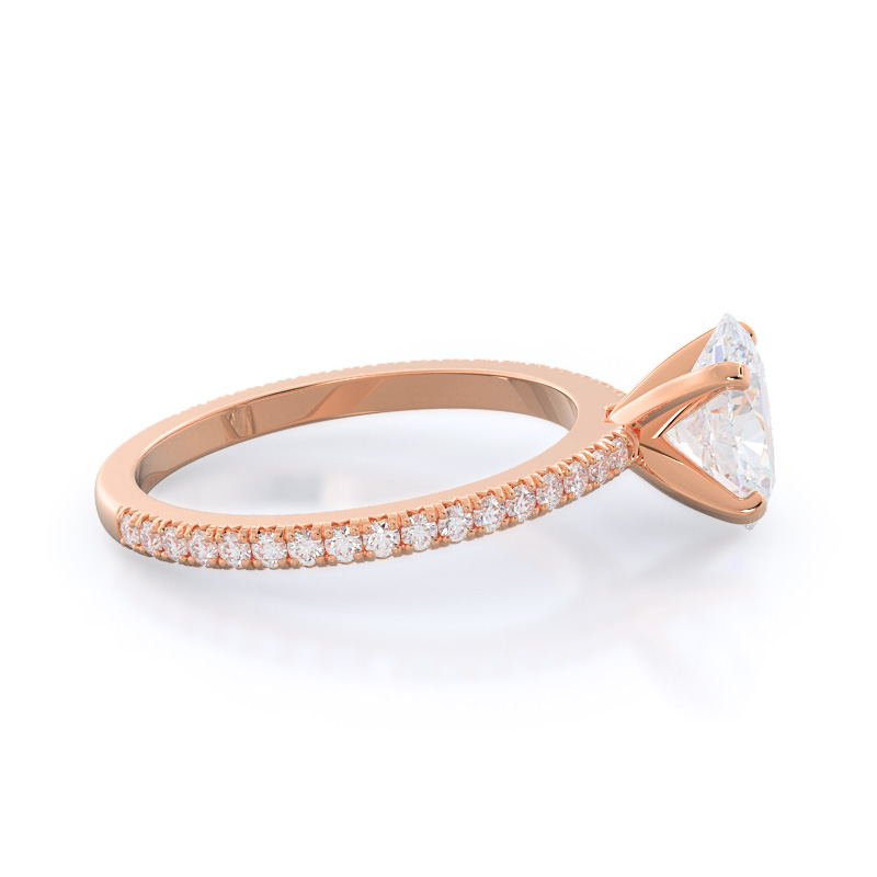 Side view: Petite French Set Diamond Engagement Ring; Oval Diamond; Rose Gold