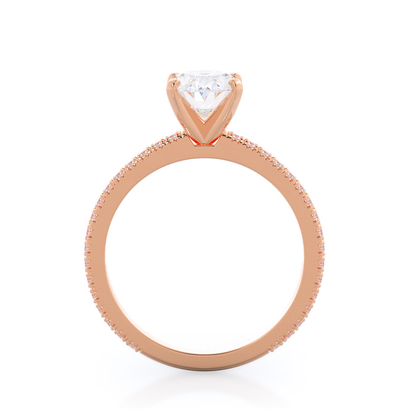 Profile view-Petite French Set Diamond Engagement Ring; Oval Diamond; Rose Gold