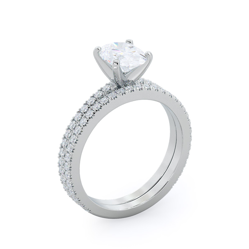 Petite French Set Diamond Engagement Ring; Oval Diamond; White Gold with matching band