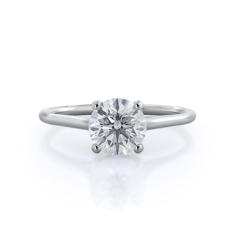 Front view-Poise Basket Diamond Engagement Ring; Round Diamond; Platinum