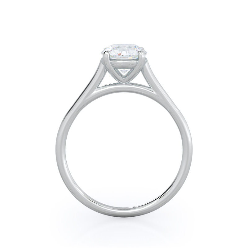 Profile view-Poise Basket Diamond Engagement Ring; Round Diamond; Platinum