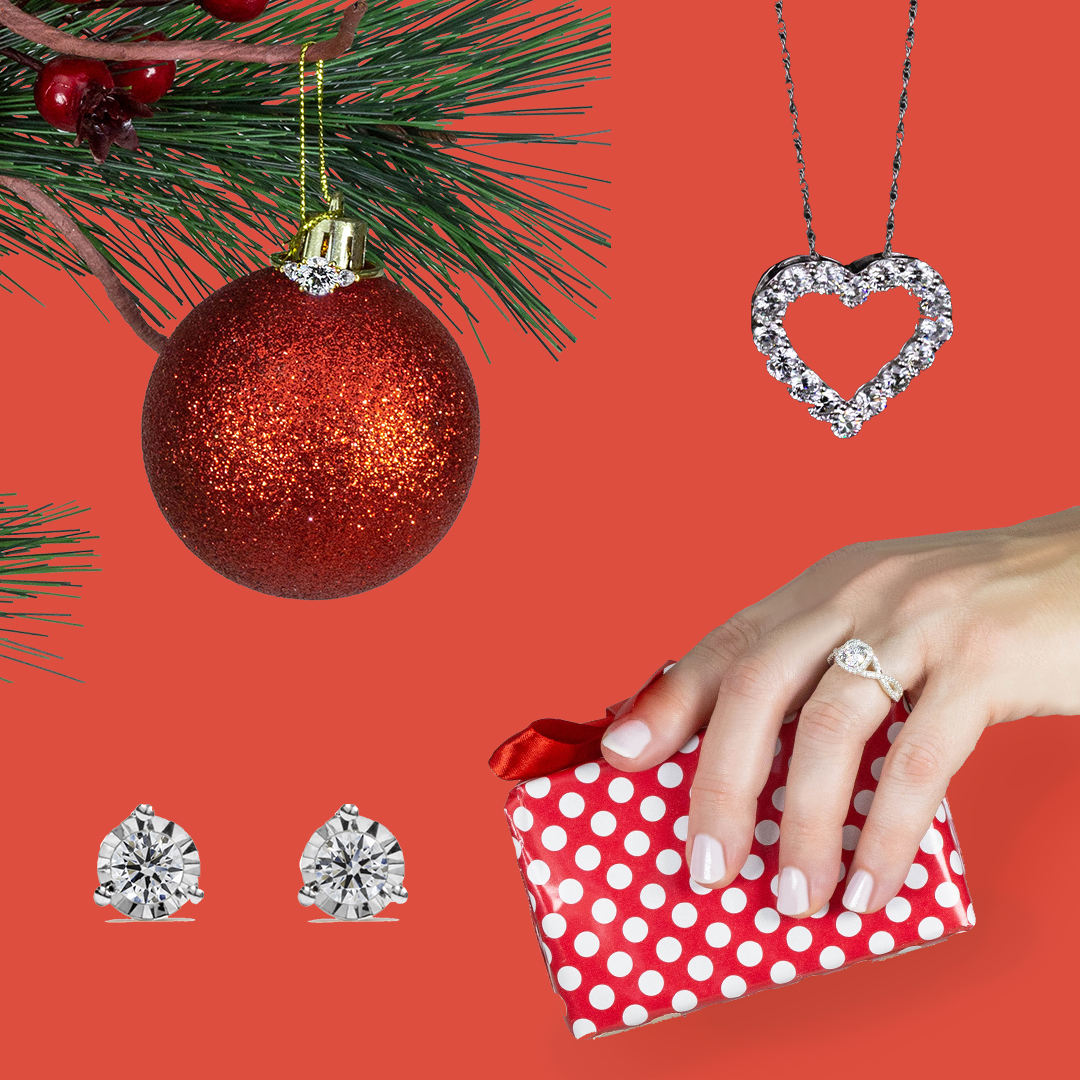 Holiday Party Jewelry: Earrings, Diamond Ring, Heart Necklace
