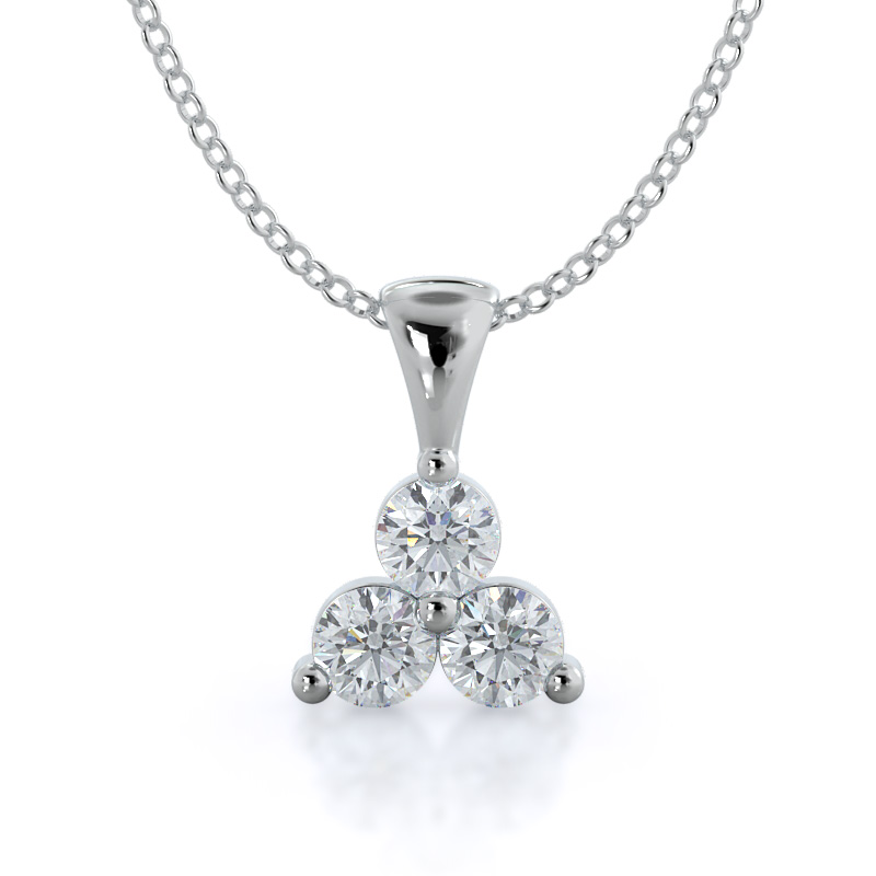 Lab Diamond Three Stone Cluster Pendant