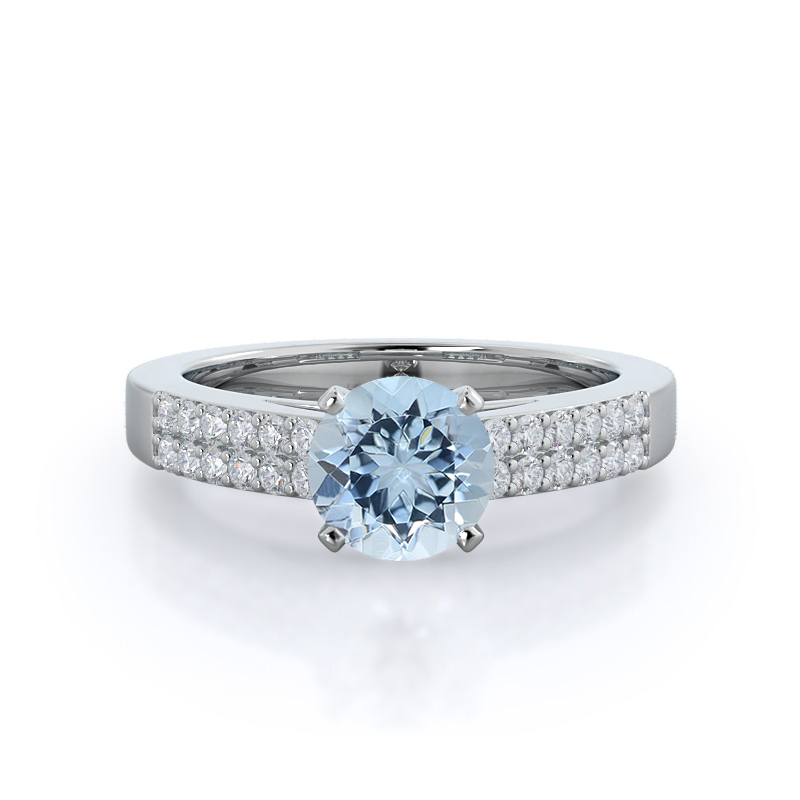 Double Row Cathedral round Aquamarine Ring, 14KT White Gold