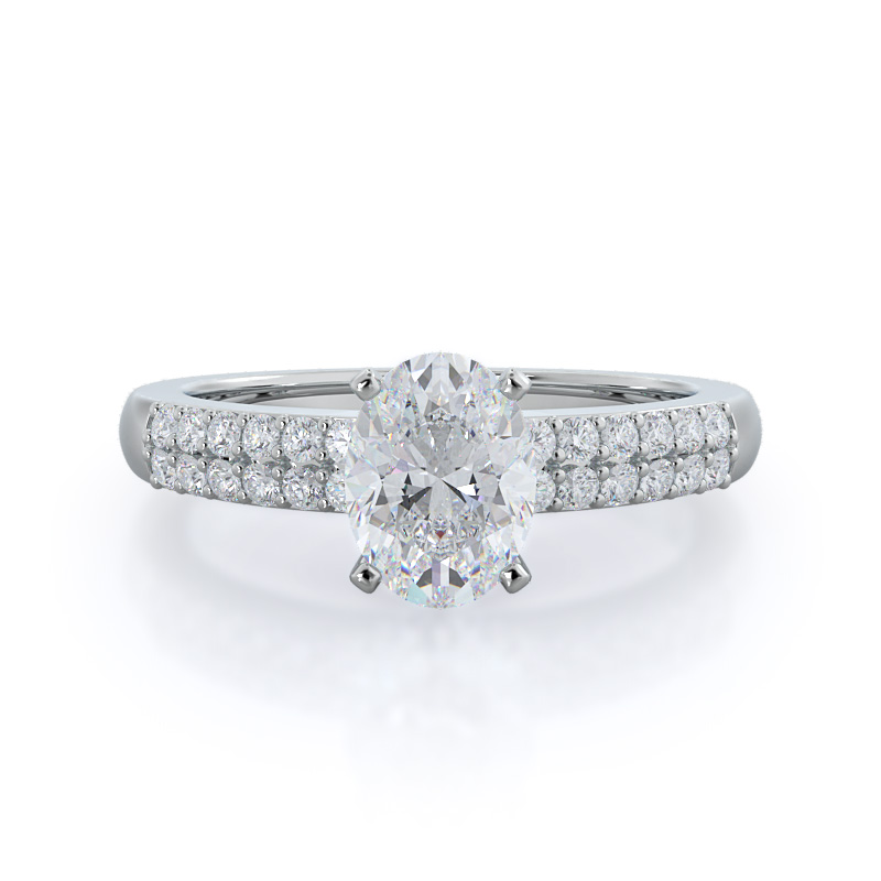 Double row oval diamond engagement ring, 14KT White Gold