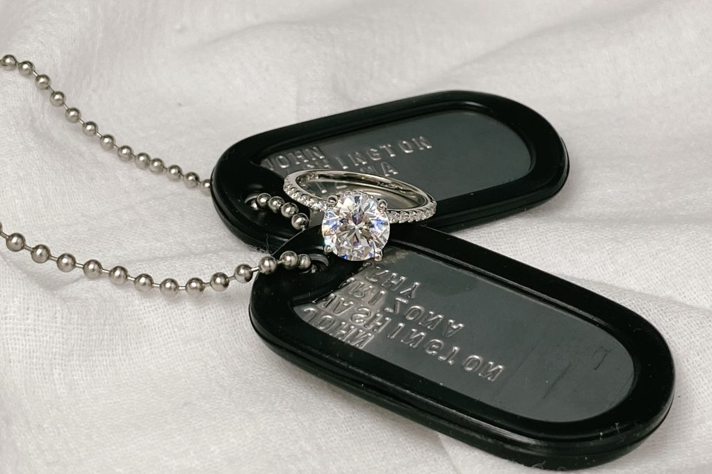 Micropave diamond engagement ring on military tag chains