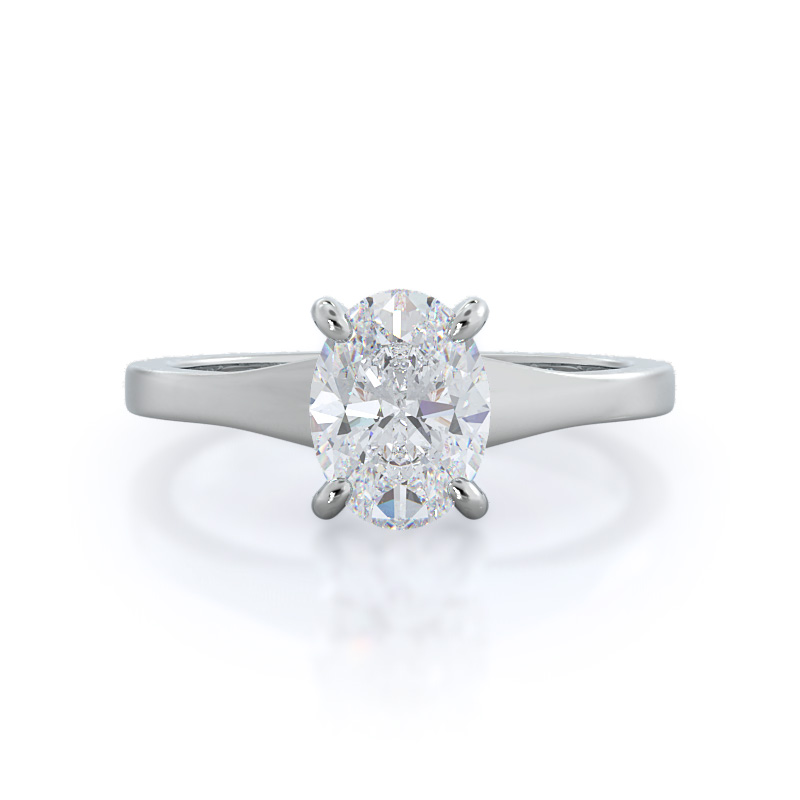 Widening oval solitaire engagement ring, 14KT White Gold