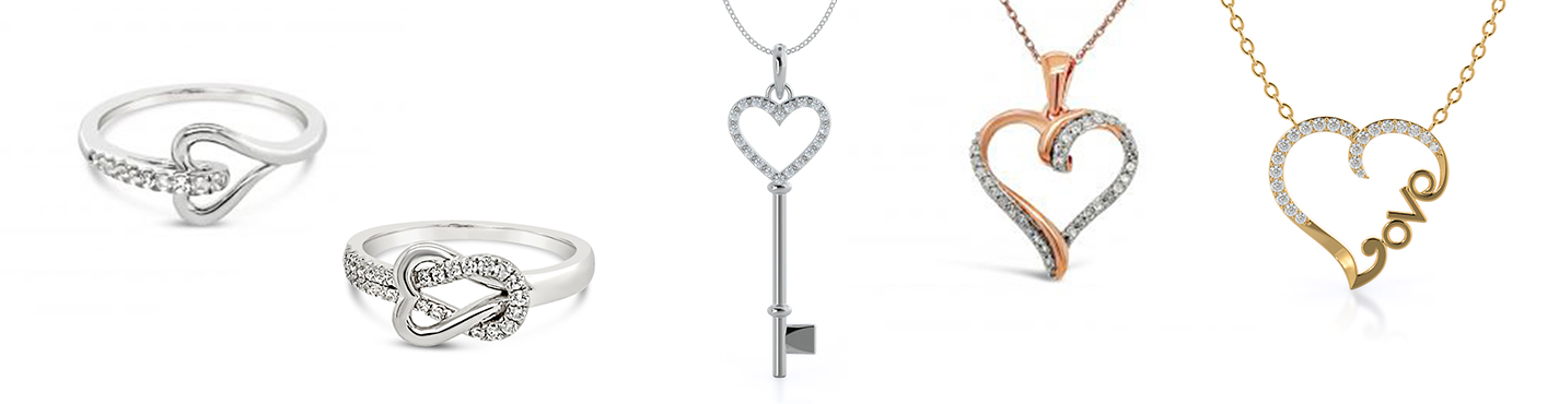 heart shaped jewelry: yellow gold necklace, rose gold necklace, white gold ring, white gold ring