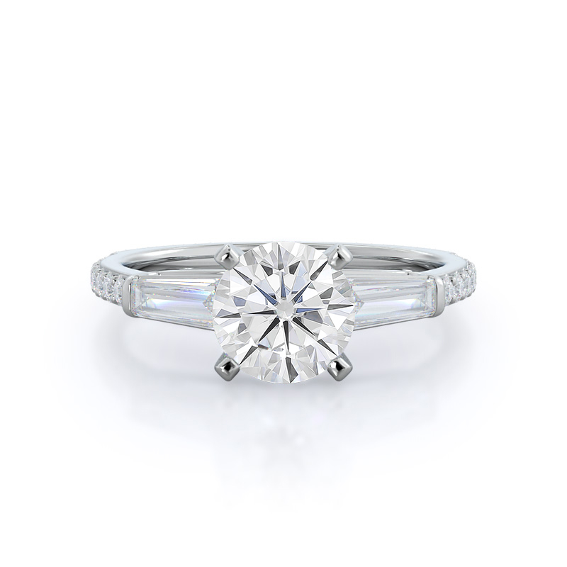 Three Stone Tapered Baguette Moissanite Ring