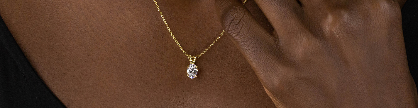 Lab Diamond Solitaire Necklace for Her