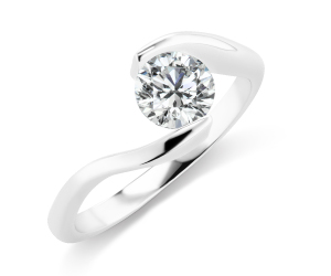 three stone diamond ring in white gold metal