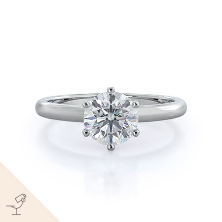 Luminous six prong solitaire diamond ring