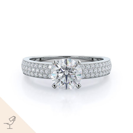 Three row micropave diamond engagement ring