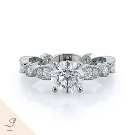 Four points diamond engagement ring