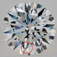 naturally occurring lines that cannot be polished away crossing facet junctions inside a diamond