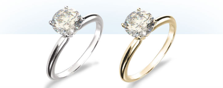 diamond color in 14k white gold and 14k yellow gold