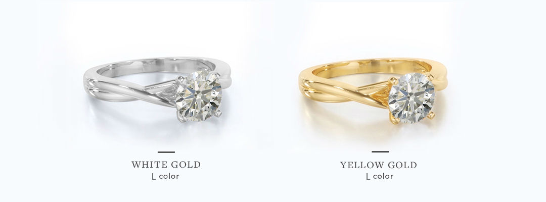 l color diamonds in different color metal settings