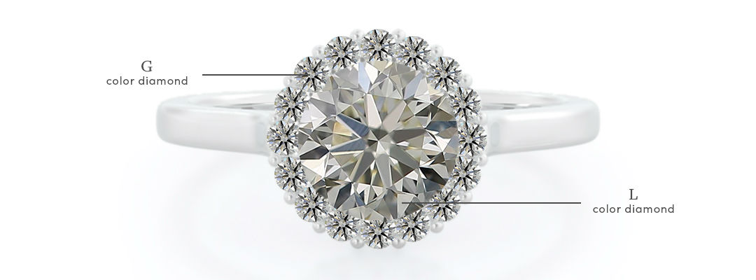 l color diamonds in setting with g diamond accents