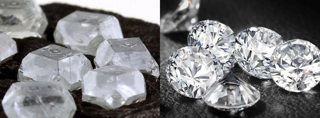 Rough versus Cut diamond