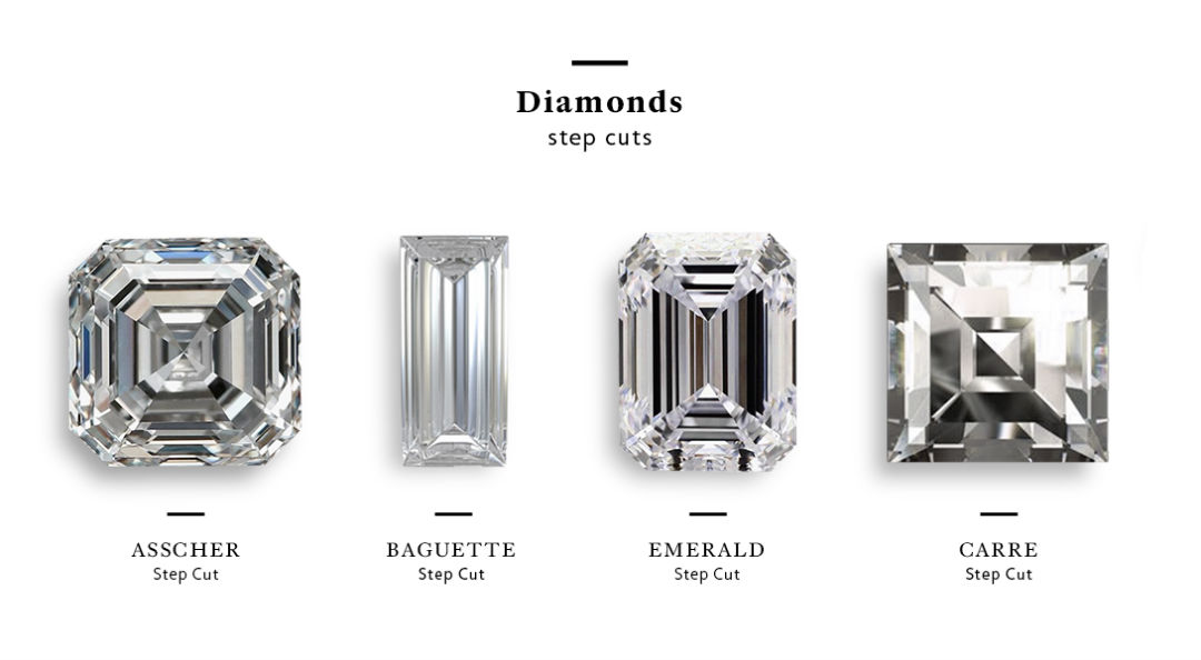 Step cut diamonds: Asscher, Baguette, Emerald, Carre