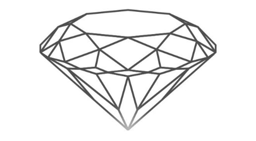 the diamond's culet is shaded in the diamond icon