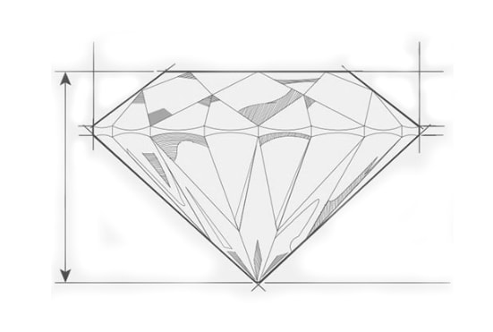 a sketch of a diamond representing the depth with arrows