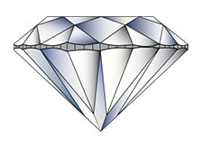 the diamond's girdle is uneven around the diamond