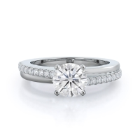 Rising Accents Moissanite Ring, .5ct, 14kt white gold