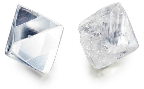 two rough diamonds that are mined and sourced ethically, conflict-free
